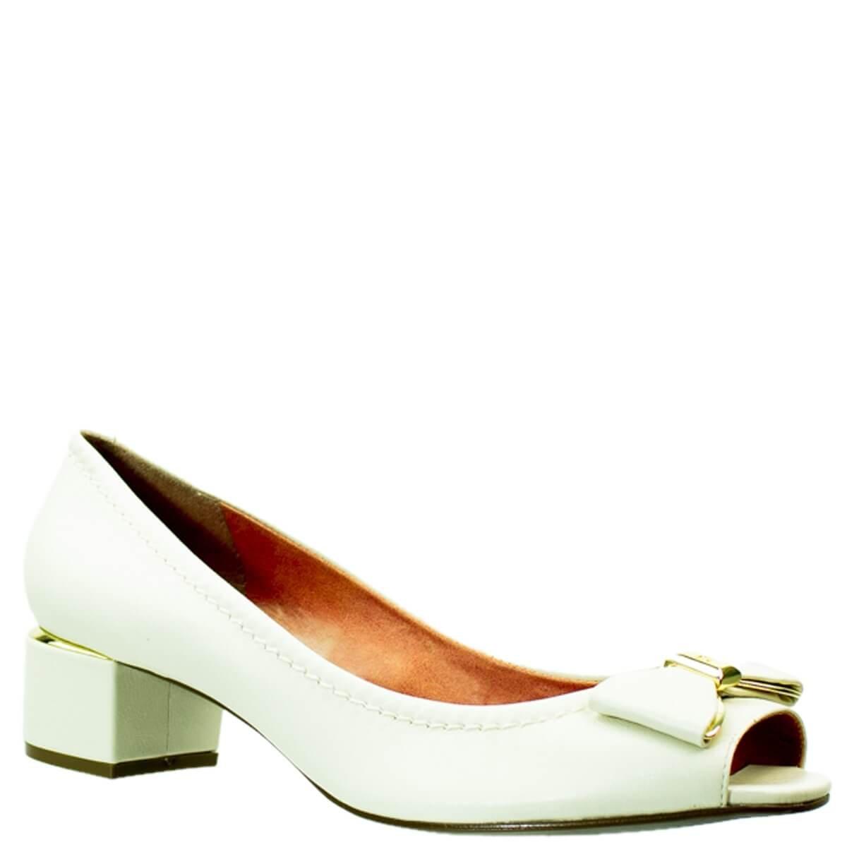 6bcb24a30 Bizz Store - Sapato Peep Toe Feminino Luz da Lua Branco S45015