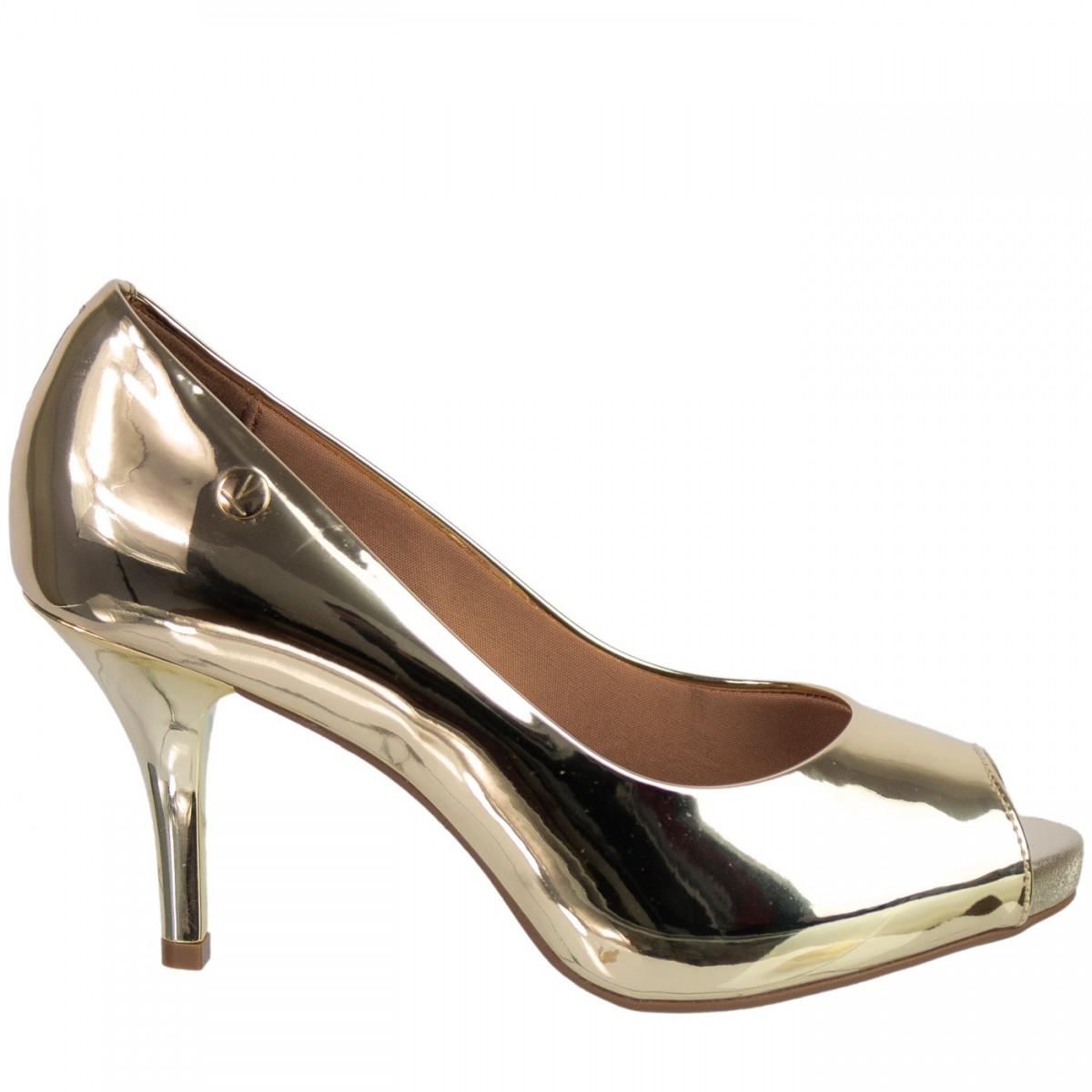 7e80133515 Bizz Store - Sapato Peep Toe Metalizado Vizzano Metal Glamour