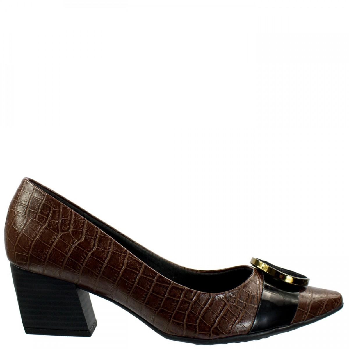 0541e494ad Bizz Store - Sapato Scarpin Feminino Piccadilly Croco Madeira