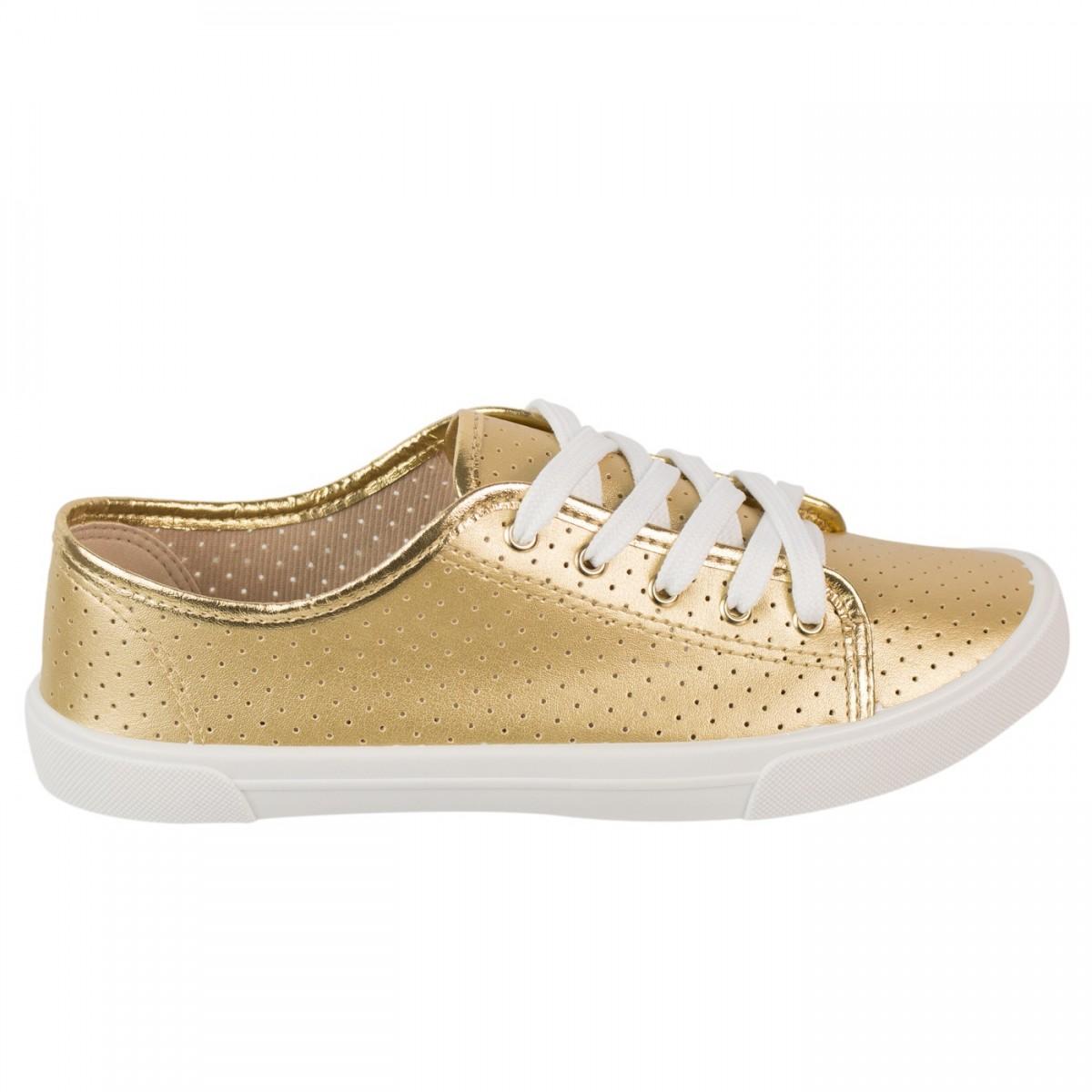65a8506bf00 Bizz Store - Tênis Feminino Moleca Napa Sardenha Branco Ouro