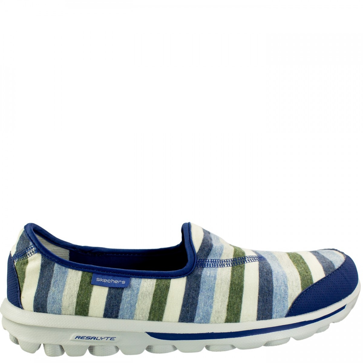 f02a6a0aef Bizz Store - Tênis Feminino Skechers GoWalk Stripy Azul Listrado