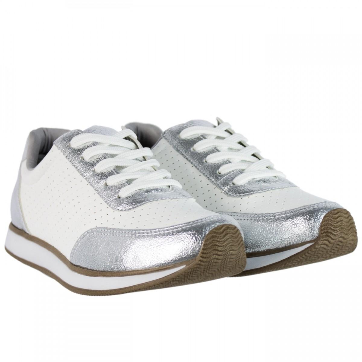 6132bb8c06 Bizz Store - Tênis Feminino Via Marte Napa New Metal Branco Couro