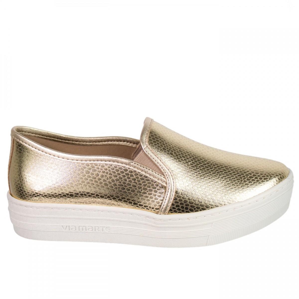 36d813130 Bizz Store - Tênis Slip On Feminino Via Marte Plataforma Dourado