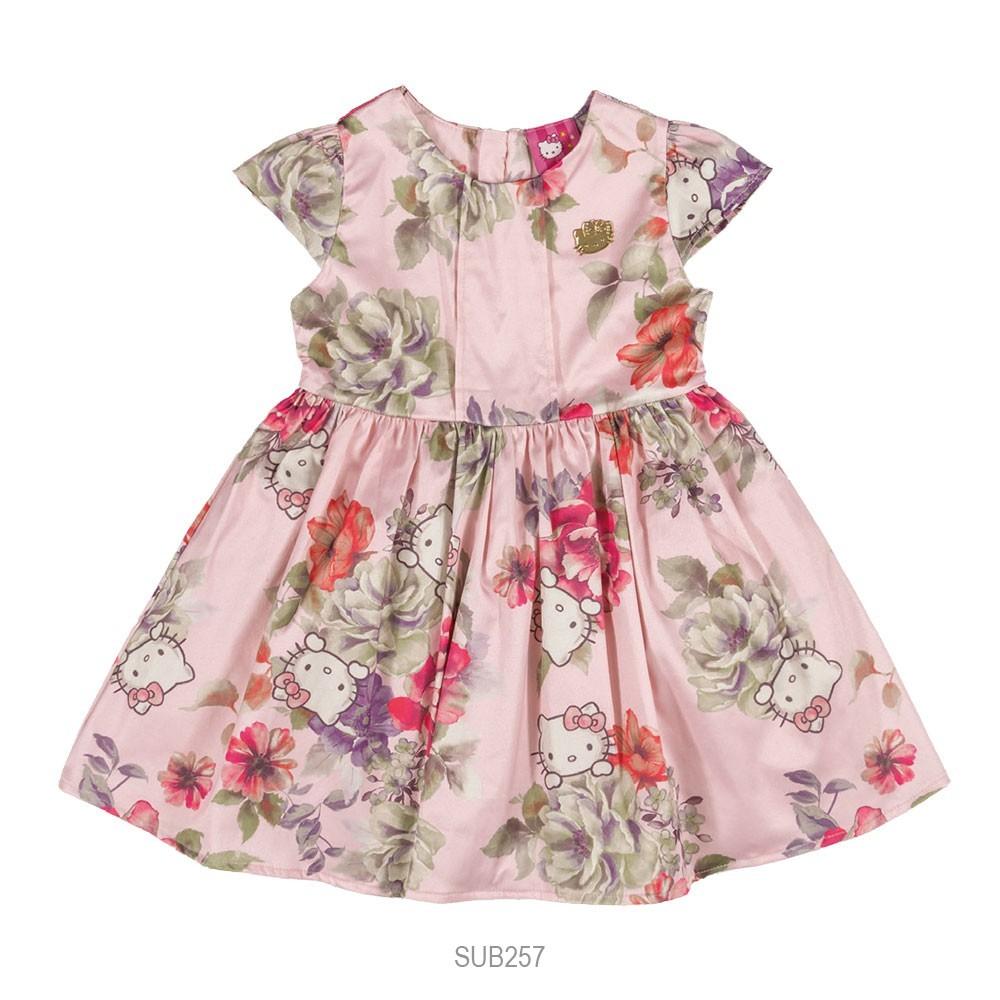 Bizz Store - Vestido Infantil Feminino Hello Kitty Rosa Azul 07a1b46068c2e