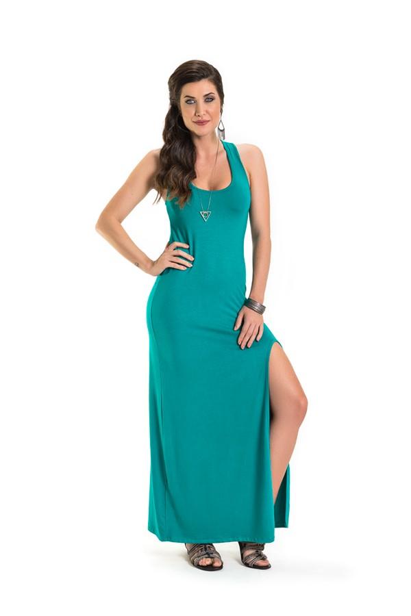 a431d54f86 Bizz Store - Vestido Longo Feminino Rosa Tatuada Fenda Cinza Verde