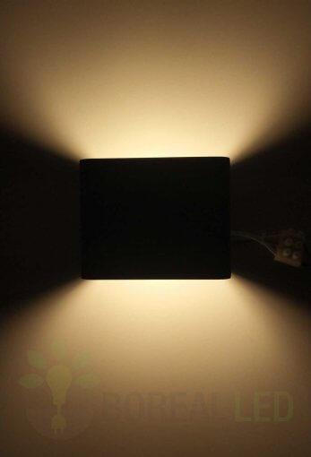 Arandela Efeito 2 Fachos 6W LED Preto IP20 Luz Branco Quente