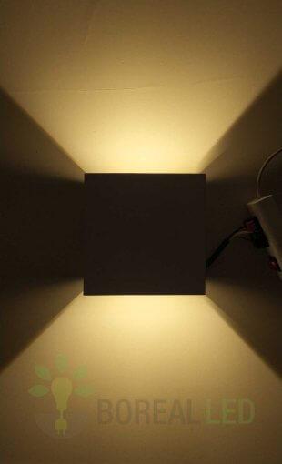 Arandela Efeito 2 Fachos Ajustável 6W LED Branca IP20 Luz Branco Quente