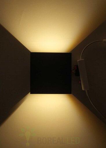 Arandela Efeito 2 Fachos Ajustável 6W LED Preto IP20 Luz Branco Quente