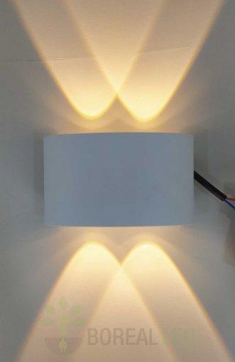 Arandela Efeito 4 Fachos Branca IP67 Externo Luz Branco Quente