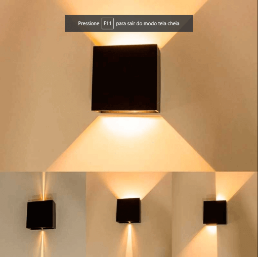 Arandela LED 4W Efeito 2 Fachos Ajustável IP65 3000K