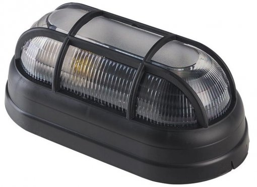 Arandela Tartaruga Preta Com Grade p/ Lâmpada E27 Policarbonato Demi