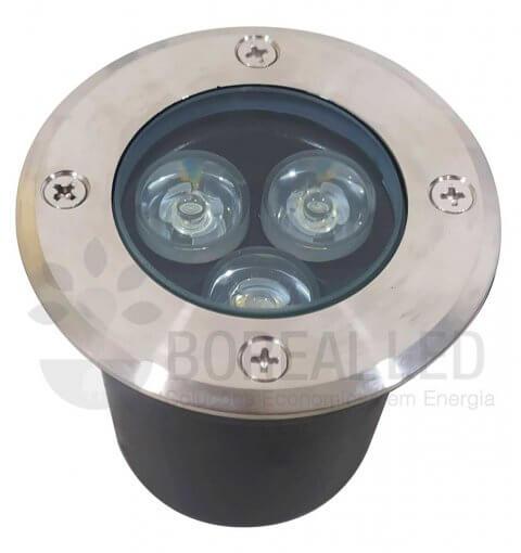 Balizador Embutir Solo Chão 3W LED Biv Branco Quente