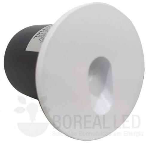 Balizador LED 3W Embutir Parede Redondo IP20 Branco Quente 3000K