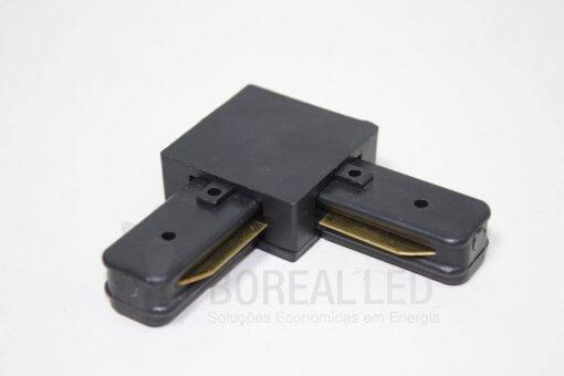 Conector Emenda L 90 Graus p/ Trilho Eletrificado Preto