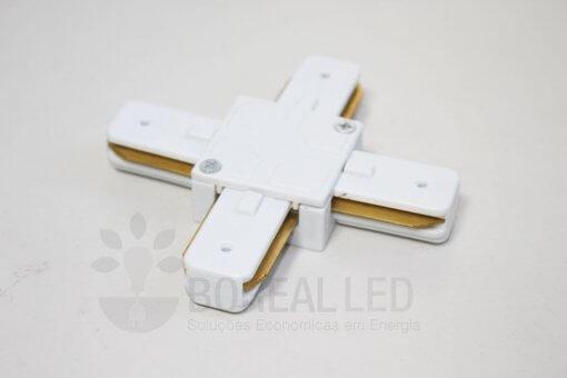 Conector Emenda X Cruz p/ Trilho Eletrificado Branco