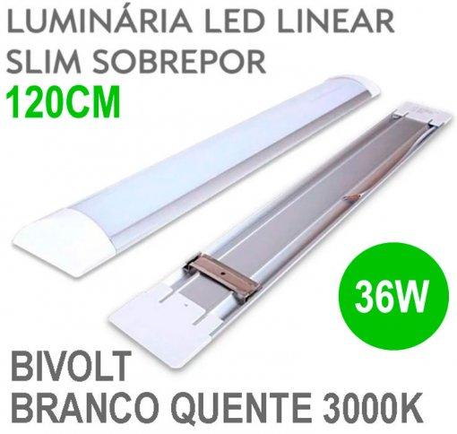 Lâmpada LED Linear Tubular 36W 120cm Sobrepor Luz Branco Quente 3000K