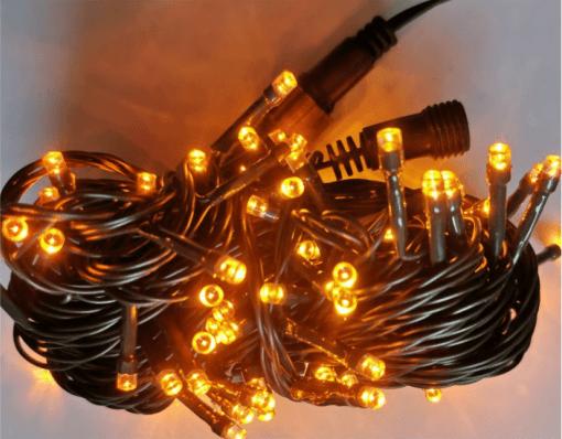 Cordão Natal Fixo 100 LED 10m Tomada Macho Femea Luz Amarelo