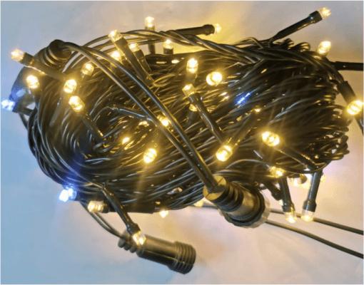 Cordão Natal Pisca Fixo 100 LED 10m Branco Quente (9 Lamp Fixo e 1 Lamp Pisca)