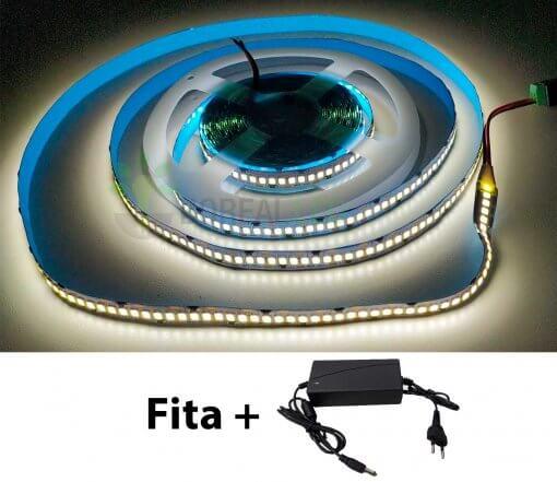 Fita LED 2835 240 LEDS/m Branco Frio 6500K 5 Metros IP20 12V + fonte