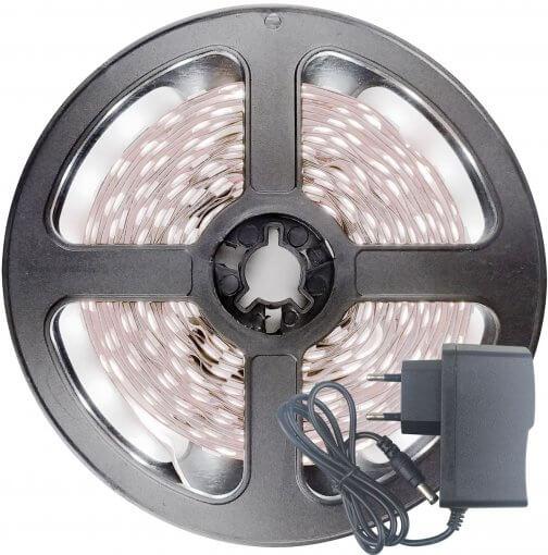 Fita LED 2835 Branco Frio 300 Leds 5 Metros 12V IP20 S/ Silicone + Fonte