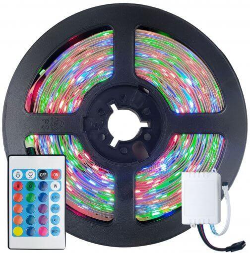 Fita LED 2835 RGB Colorida 5m 300 LEDS IP20 + Controle