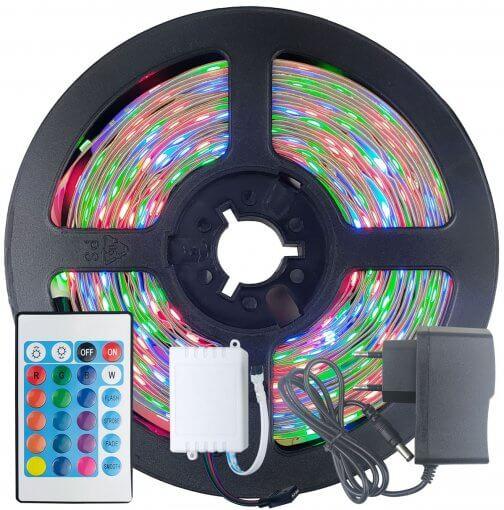 Fita LED 2835 RGB Colorida 5m 300 LEDS IP20 + Controle + Fonte