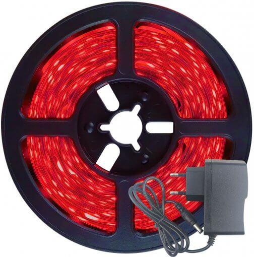 Fita LED 2835 Vermelho 300 Leds 5 Metros 12V S/ Silicone + Fonte