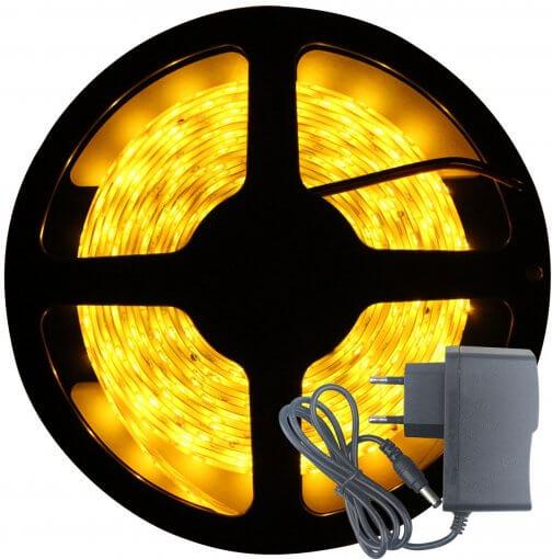 Fita LED 3528 Âmbar 300 Leds 5 Metros 12V C/ Silicone + Fonte