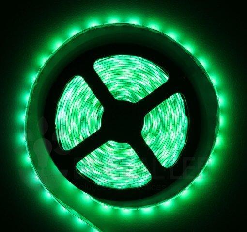Fita LED 3528 Verde 300 Leds 5 Metros 12V IP65 Dupla Face