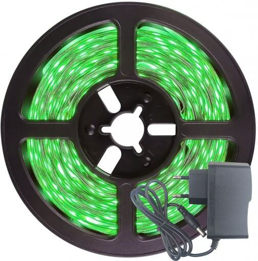 Fita LED 3528 Verde 300 Leds 5 Metros 12V S/ Silicone + Fonte