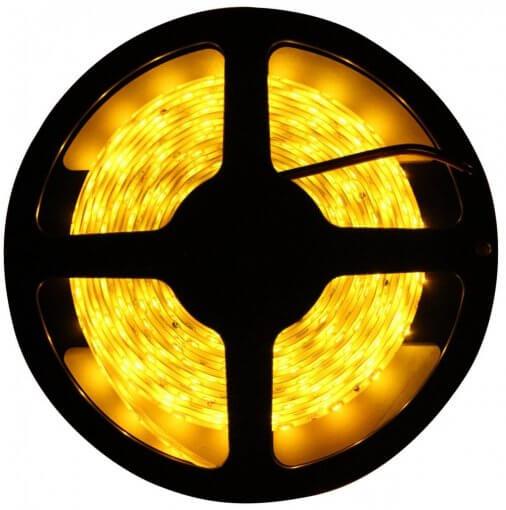 Fita LED 5050 Âmbar 300 Leds 5 Metros 12V IP65 Dupla Face