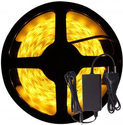 Fita LED 5050 Âmbar 300 Leds 5 Metros 12V IP65 + Fonte