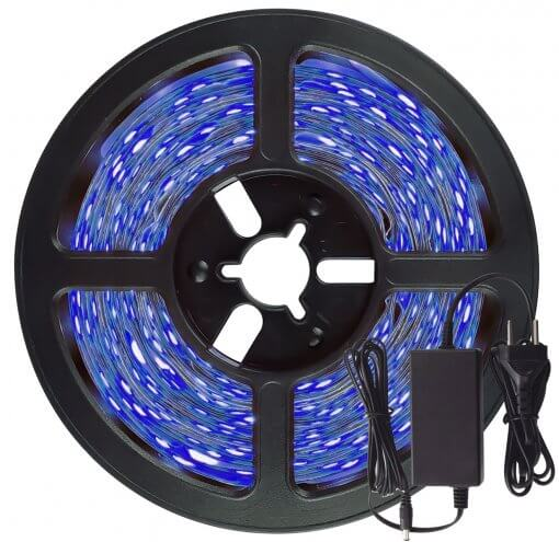 Fita LED 5050 Azul 300 LEDS 5 Metros 12V IP65 C/Silicone + Fonte