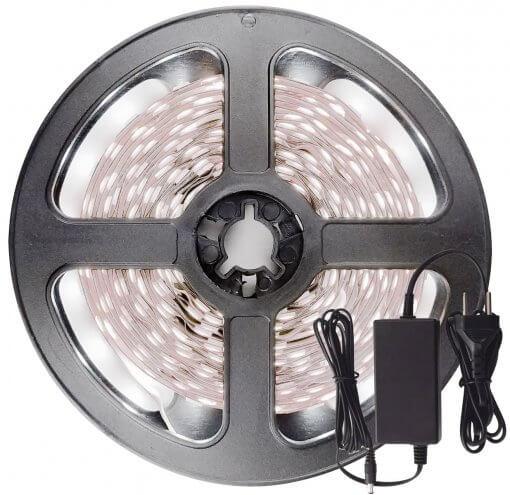 Fita LED 5050 Branco Frio 300 Leds 5 Metros 12V IP20 + Fonte