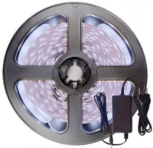 Fita LED 5050 Branco Frio 300 Leds 5 Metros 12V IP65 + Fonte