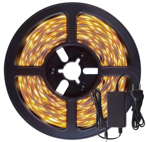 Fita LED 5050 Branco Quente 300 Leds 5 Metros 12V S/ Silicone + Fonte