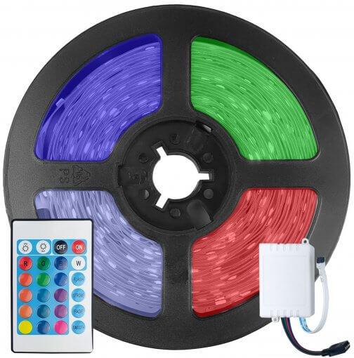 Fita LED 5050 RGB Colorida 300 Leds 5 Metros 12V IP65 + Controle Remoto