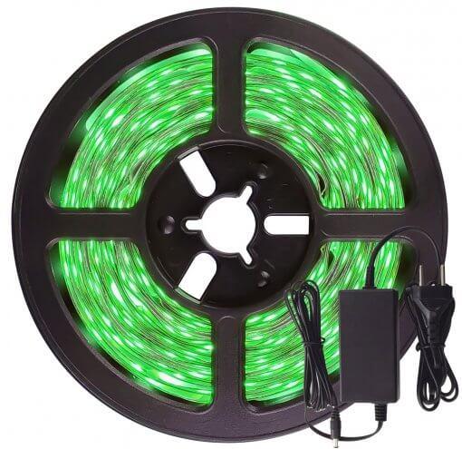 Fita LED 5050 Verde 300 Leds 5 Metros 12V IP65 Dupla Face + fonte