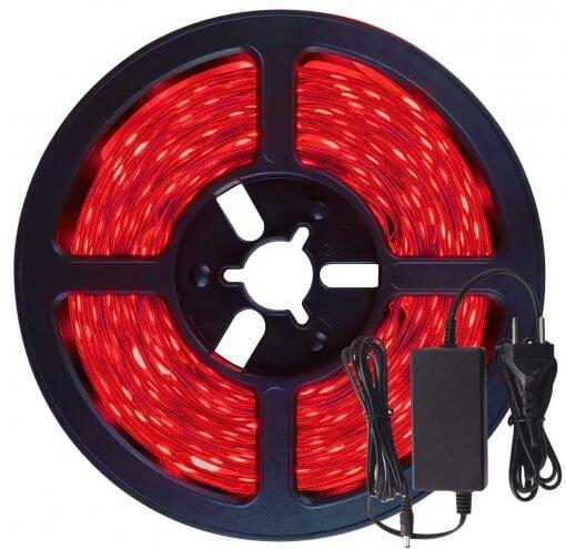 Fita LED 5050 Vermelha 300 Leds 5 Metros 12V IP65 C/ Silicone + Fonte