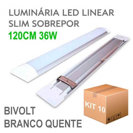 Kit 10 Lâmpada LED Linear Tubular 36W 120cm Sobrepor Luz Branco Quente 3000K