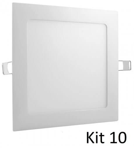Kit 10 Painel Plafon LED 18w Embutir Quadrado 22x22cm Branco Quente