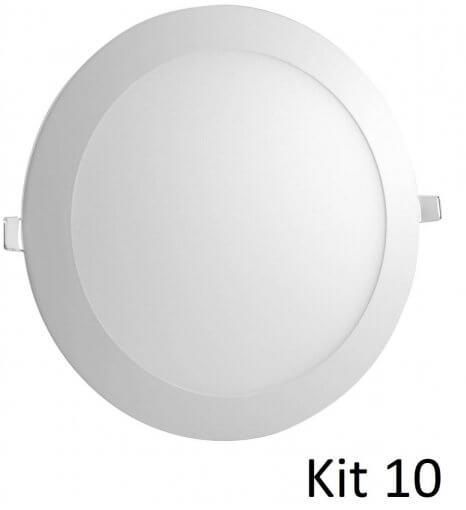 Kit 10 Painel Plafon LED Embutir 18W Redondo 22cm Branco Quente