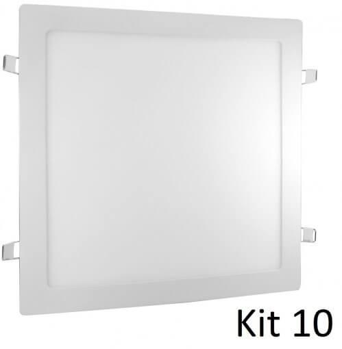 Kit 10 Painel Plafon LED Embutir 24W Quadrado Branco Quente