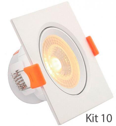 Kit 10 Spot Downlight LED 7W Embutir Quadrado Direcionável Luz Quente ROYA