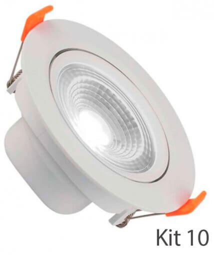 Kit 10 Spot Downlight LED 7W Embutir Redondo Direcionável Luz Fria ROYA