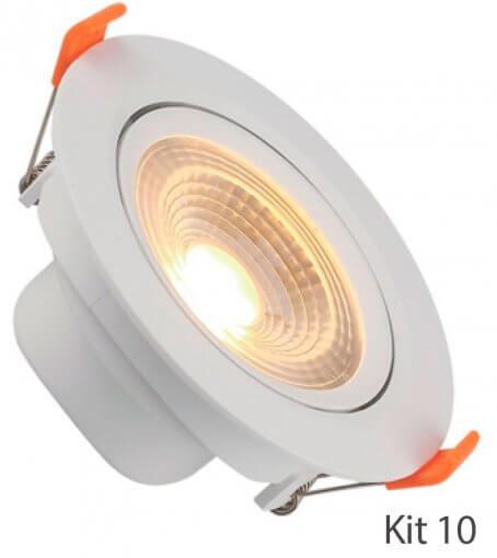 Kit 10 Spot Downlight LED 7W Embutir Redondo Direcionável Luz Quente ROYA