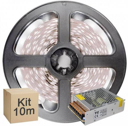 Kit Fita LED 2835 10 metros 2x5mt IP20 Branco Frio Fonte Chaveada 5A