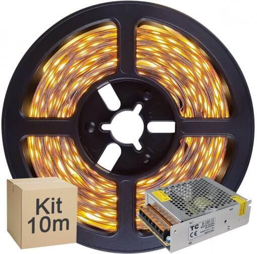 Kit Fita LED 2835 10 metros 2x5mt IP20 Branco Quente Fonte Chaveada 5A