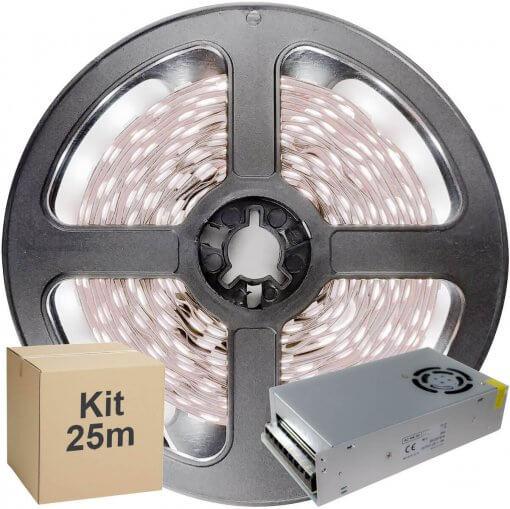 Kit Fita LED 2835 25 metros 5x5mt IP20 Branco Frio Fonte Chaveada 15A