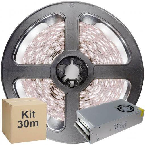 Kit Fita LED 2835 30 metros 6x5mt IP20 Branco Frio Fonte Chaveada 15A